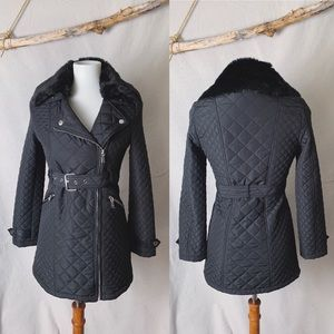 BARDOT JUNIOR Aimee Quilted Fur Collar Parka 16